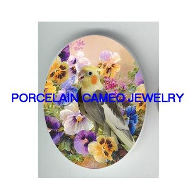 COCKATOO BIRD WITH COLORFUL PANSY * UNSET CAMEO PORCELAIN CABOCHON