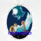 ANGEL SHELTIE SHEEPDOG MOON CAMEO PORCELAIN NECKLACE