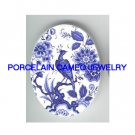 DELFT BLUE EXOTIC BIRD PEONY UNSET CAMEO PORCELAIN CABO