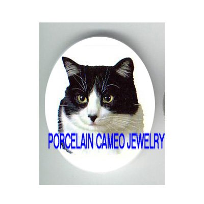 SWEET BLACK AND WHITE CAT* UNSET CAMEO PORCELAIN CABOCHON