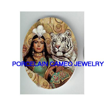 EGYPT QUEEN WHITE TIGER * UNSET CAMEO PORCELAIN CABOCHON