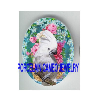 COCKATOO BIRD ROSE FORGET ME NOT * UNSET CAMEO PORCELAIN CABOCHON