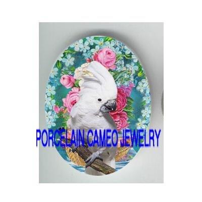 COCKATOO BIRD ROSE FORGET ME NOT CAMEO PORCELAIN 18X25