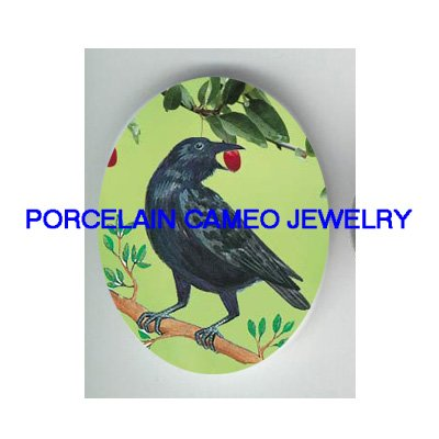 CROW RAVEN BIRD EATS CHERRY UNSET CAMEO PORCELAIN CABO