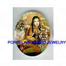 EXOTIC QUEEN WITH CHEETAH WILD CAT * UNSET CAMEO PORCELAIN CABOCHON