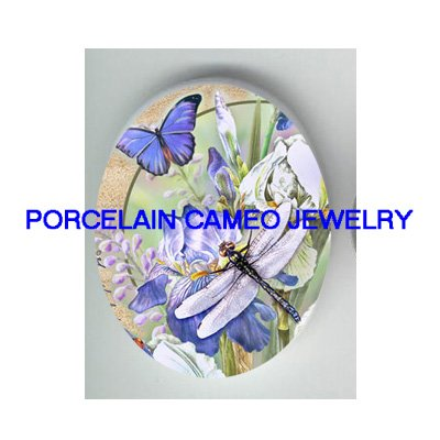 DRAGONFLY BUTTERFLY WITH IRIS* UNSET CAMEO PORCELAIN CABOCHON