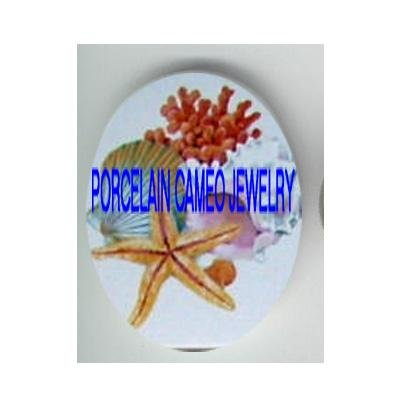 STARFISH SEASHELL AND CORAL * UNSET CAMEO PORCELAIN CABOCHON