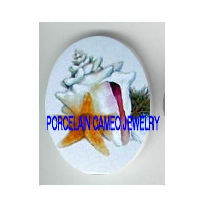 STARFISH AND SEASHELL UNSET CAMEO PORCELAIN CABOCHON