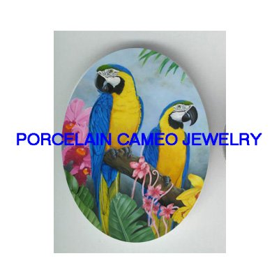 2 PARROT MACAW BIRD WITH ORCHID UNSET PORCELAIN CAMEO