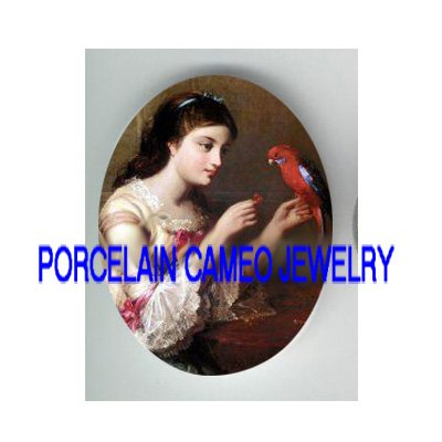VICTORIAN GIRL FEEDING PARROT MACAW BIRD* UNSET CAMEO PORCELAIN CABOCHON
