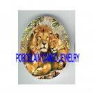 3 LION FAMILY BABY CUB * UNSET CAMEO PORCELAIN CABOCHON