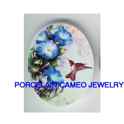 HUMMINGBIRD WITH MORNING GLORY * UNSET CAMEO PORCELAIN CABOCHON