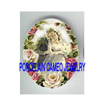 GROOM KISSING BRIDE ROSE* UNSET CAMEO PORCELAIN CABOCHON