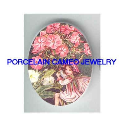 PHLOX FLOWER BUTTERFLY FAIRY * UNSET CAMEO PORCELAIN CABOCHON