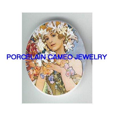 ALPHONSE MUCHA LILY FLOWER LADY * UNSET CAMEO PORCELAIN CABOCHON