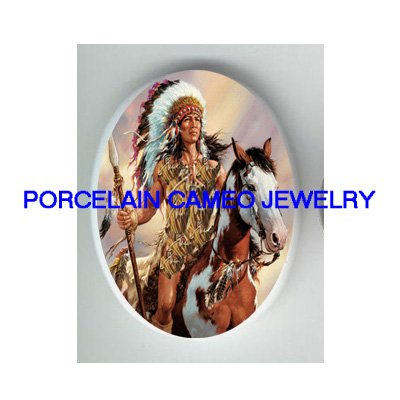 INDIAN CHIEF APPALOOSA HORSE * UNSET CAMEO PORCELAIN CABOCHON