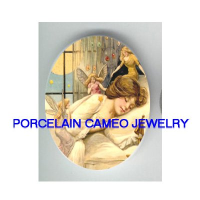 VICTORIAN SLEEPING BEAUTY WITH FAIRY * UNSET CAMEO PORCELAIN CABOCHON