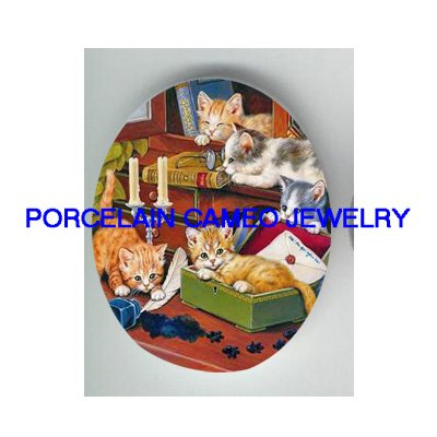 4 KITTY CAT COLLAGE READING BOOK WRITING LETTER* UNSET CAMEO PORCELAIN CABOCHON
