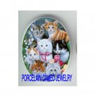 7 KITTY CAT COLLAGE LILY OF THE VALLEY TULIPS * UNSET CAMEO PORCELAIN CABOCHON