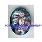 INDIAN CHIEF WITH 2 GREY WOLF* UNSET CAMEO PORCELAIN CABOCHON