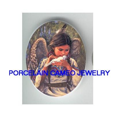 INDIAN ANGEL KISSING DOVE* UNSET CAMEO PORCELAIN CABOCHON