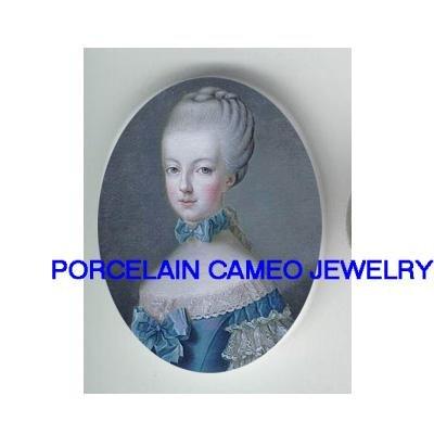 YOUNG MARIE ANTOINETTE BLUE RIBBON* UNSET CAMEO PORCELAIN CABOCHON
