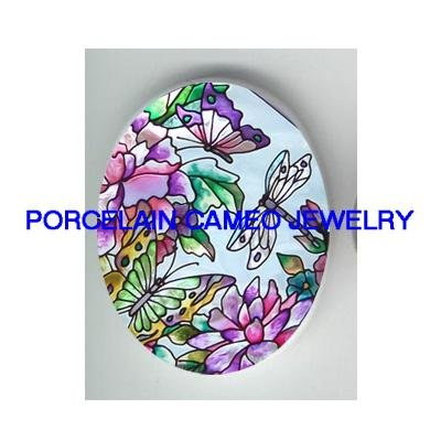 DRAGONFLY WITH BUTTERFLY ROSE * UNSET CAMEO PORCELAIN CABOCHON