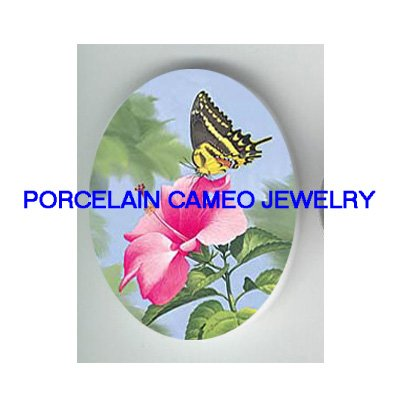 BUTTERFLY WITH HIBISCUS FLOWER * UNSET CAMEO PORCELAIN CABOCHON