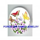 BUTTERFLY WITH MORNING GLORY* UNSET CAMEO PORCELAIN CABOCHON