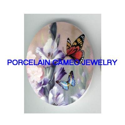 BUTTERFLY WITH IRIS FLOWER* UNSET CAMEO PORCELAIN CABOCHON