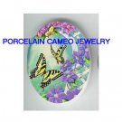 BUTTERFLY  WITH PURPLE FLOWER GARDEN* UNSET CAMEO PORCELAIN CABOCHON