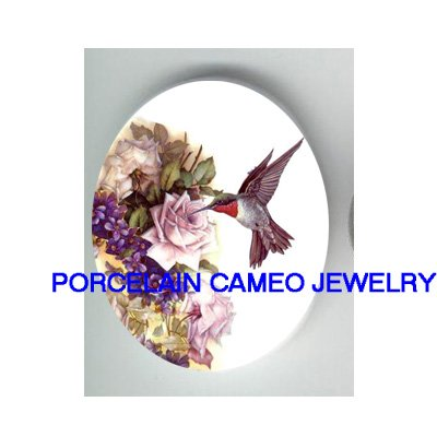 HUMMINGBIRD WITH PURPLE ROSE VIOLET * UNSET CAMEO PORCELAIN CABOCHON