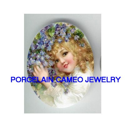 VICTORIAN BLONDE GIRL WITH VIOLET * UNSET CAMEO PORCELAIN CABOCHON