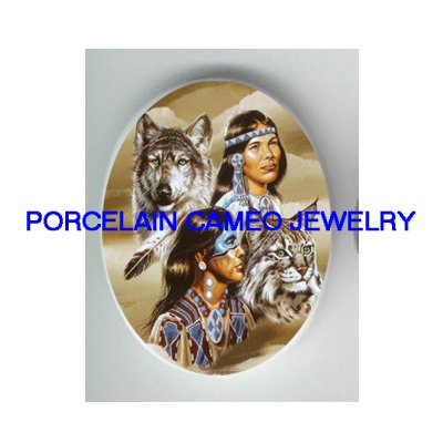 INDIAN COUPLE WILF WILD CAT CAMEO PORCELAIN CABOCHON
