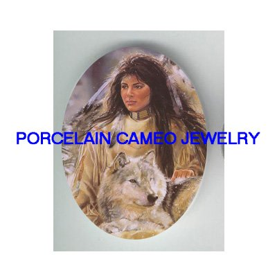 INDIAN WOMAN WITH WOLF SNOW FOREST * UNSET CAMEO PORCELAIN CABOCHON