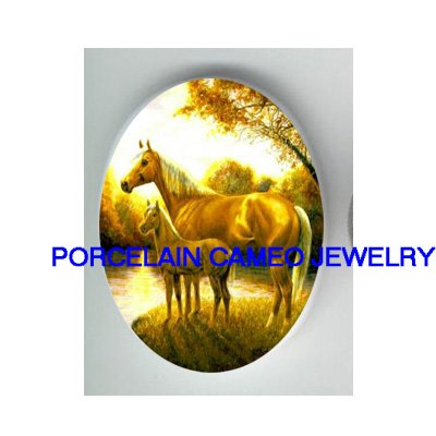 MARE AND COLT HORSE NEAR LAKE* UNSET CAMEO PORCELAIN CABOCHON