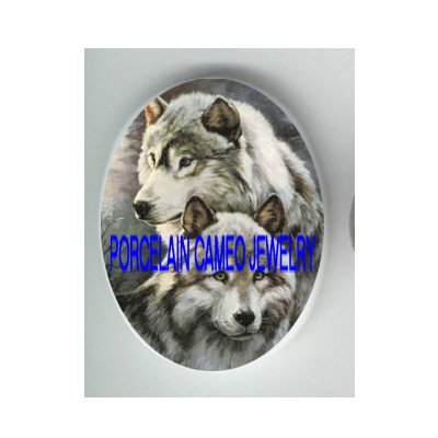2 CUDDLING GREY WOLF* UNSET CAMEO PORCELAIN CABOCHON