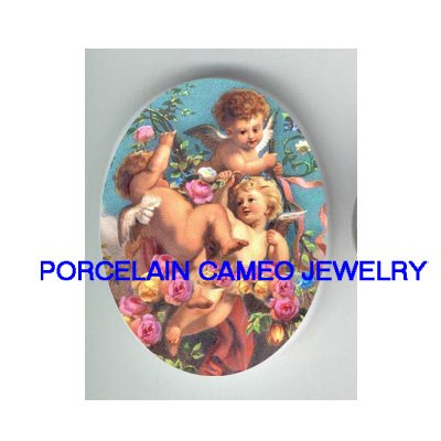 3 VICTORIAN ANGEL CHERUB ROSE CAMEO PORCELAIN CAB 30X40