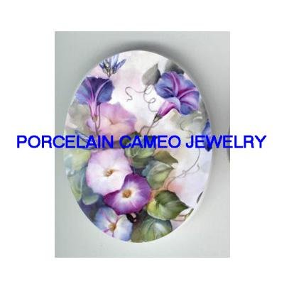 PURPLE MORNING GLORY* UNSET CAMEO PORCELAIN CABOCHON