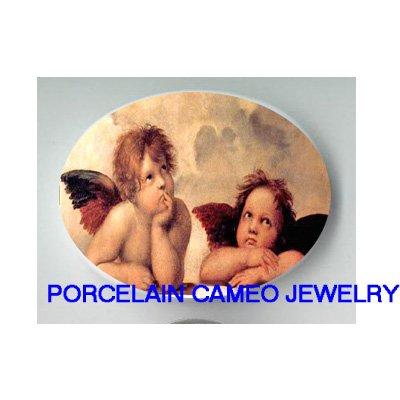 2 RAPHAEL ANGEL CHERUB* UNSET CAMEO PORCELAIN CABOCHON