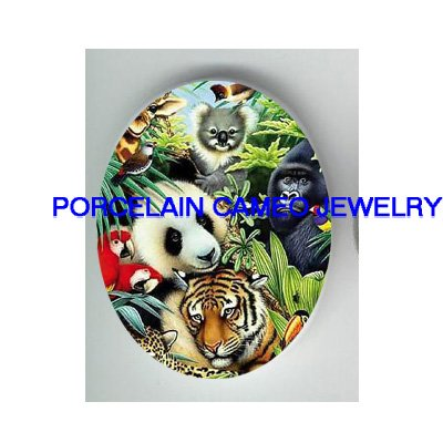 KOALA PANDA TIGER PARROT ANIMAL COLLAGE CAMEO PORCELAIN CABOCHON