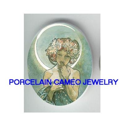 ALPHONSE MUCHA MOON LADY* UNSET CAMEO PORCELAIN CABOCHON