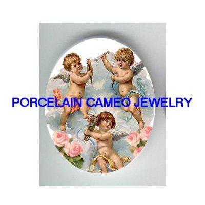 3 VICTORIAN ANGEL CHERUB ROSE CAMEO PORCELAIN CABOCHON