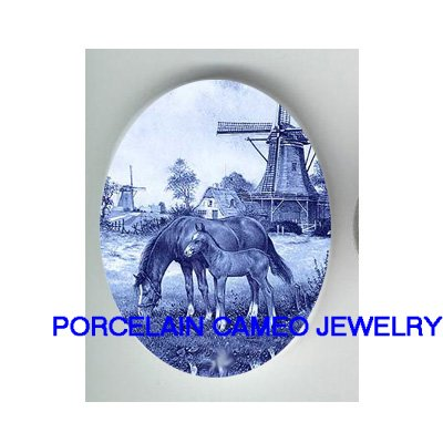 MARE CLOT HORSE WINDMILL * UNSET CAMEO PORCELAIN CABOCHON