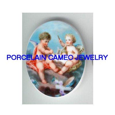 2 ROCOCO ANGEL CHERUB PLAY MUSIC PORCELAIN CAMEO CAB