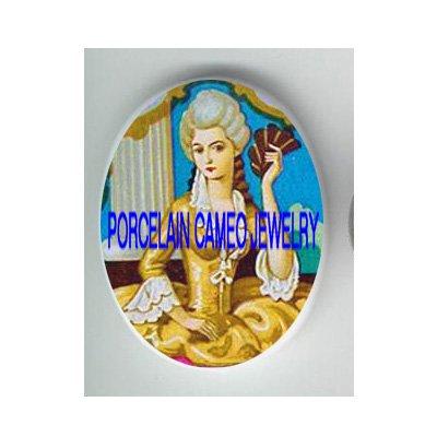 GOLDEN QUEEN MARIE ANTOINETTE WITH FAN  * UNSET CAMEO PORCELAIN CABOCHON