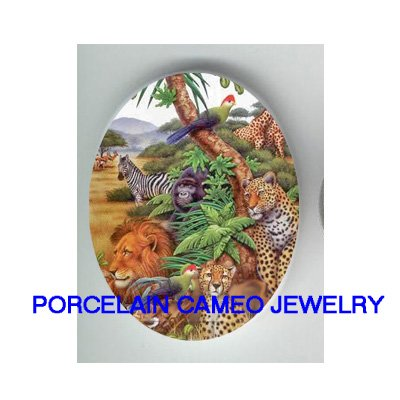AFRICA ANIMAL COLLAGE LION LEOPARD  * UNSET CAMEO PORCELAIN CABOCHON