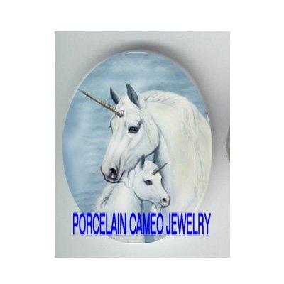 UNICORN HORSE MOM CUDDLE BABY PORCELAIN CAMEO CAB