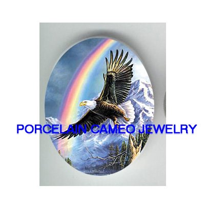 AMERICAN EAGLE RAINBOW MOUNTAIN   * UNSET CAMEO PORCELAIN CABOCHON