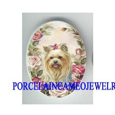 YORKSHIRE TERRIER DOG SPRING ROSE PORCELAIN CAMEO 18x25